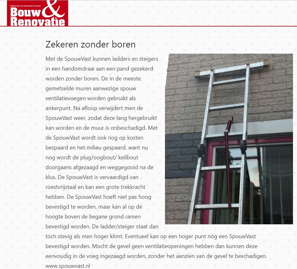 ladder steiger zekeren veilig werken op hoogte renoveren spouwanker muuranker gevelschade