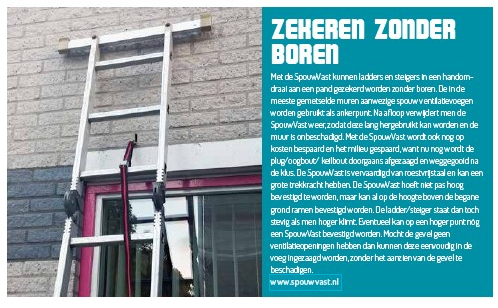 ladder steiger zekeren veilig werken op hoogte spouwanker muuranker gevelschade Step