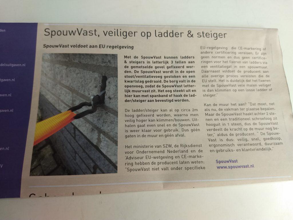Bouwend Nederland ladder steiger zekeren veilig werken op hoogte muuranker spouwanker